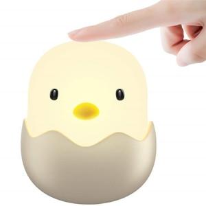 Image 1 - LED Night Light Egg Chick Shape Night lamp Soft Cartoon Baby Nursery Bedroom Rechargeable Lamp for Children Birthday Gift