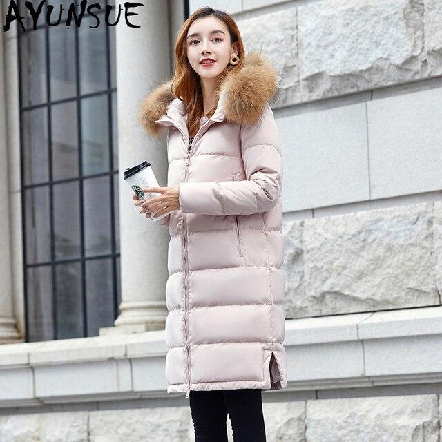 a7d99d1e2 US $215.4 |AYUNSUE Long Down Jacket Women Winter Duck Down Coat Korean  Womens Jackets Pink Puffer Female Jacket Doudoune Femme KJ1004-in Down  Coats ...