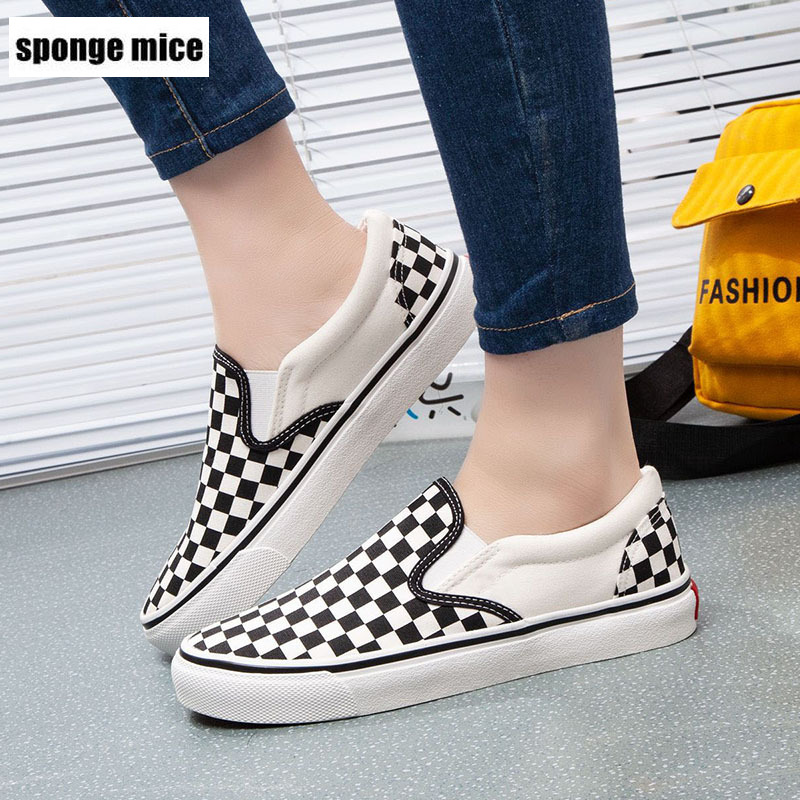 Women's Shoes Loafers Platform-Sneakers Vulcanized-Shoes Plaid Flat-Bottom-Foot-Canvas
