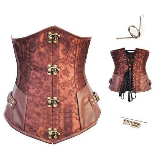 Brown Retro Sexy Basque Gothic Corset Lace up Steel Boned Brocade Steampunk Corselet Underbust Red Balck S-2XL