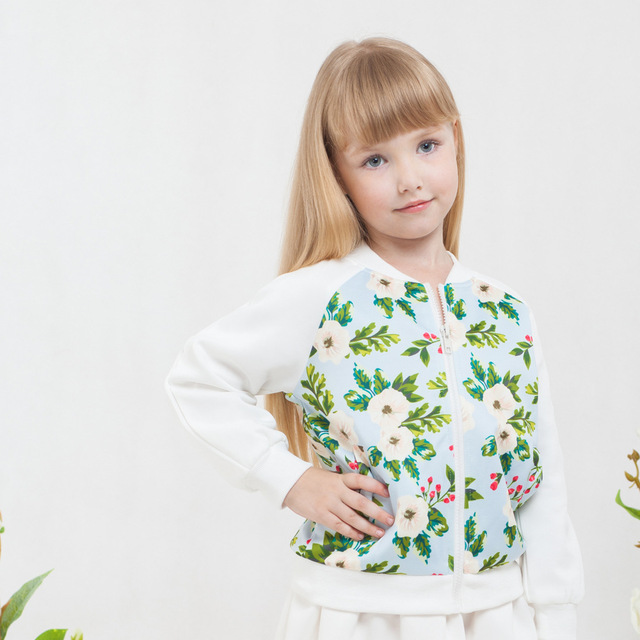 Novatx 2017 new arrival girls coats baby girl clothes zipper jackets children outerwear floral Spring tops for 4-10y kids girl