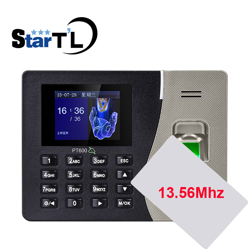 Free Shipping Biometric Fingerprint Time Attendance Clock Recorder Employee Recognition Device 13.56MF Card Reader