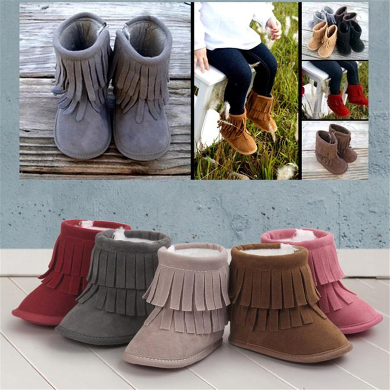 Baby Keep Warm Double-deck Tassels Soft Sole Snow Boots Soft Crib Shoes Toddler Boots