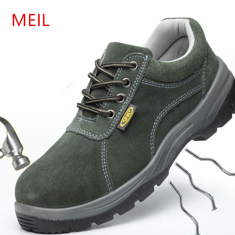Mens Summer Work Shoes Safety Shoes Steel Toe Breathable Genuine Leather Shoes for Men Casual Work Boots Protective Footwear