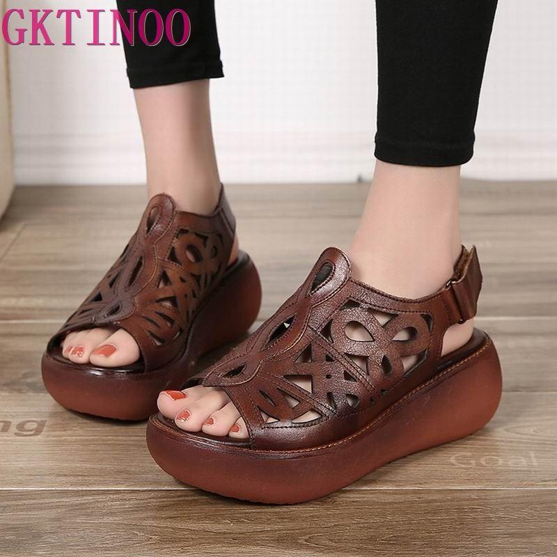 GKTINOO Women s Sandals 2019 Summer Genuine Leather Platform Ladies Shoe Gladiator Sandals Women Wedge Non
