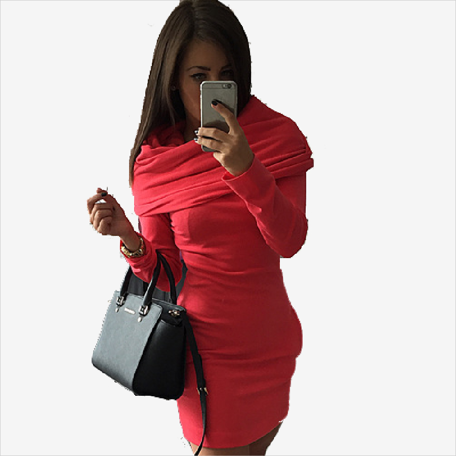 2016 Women Spring Autumn Dress Casual Sheath Long sleeve Above Knee Mini Knitting Cotton Dress  Free shipping