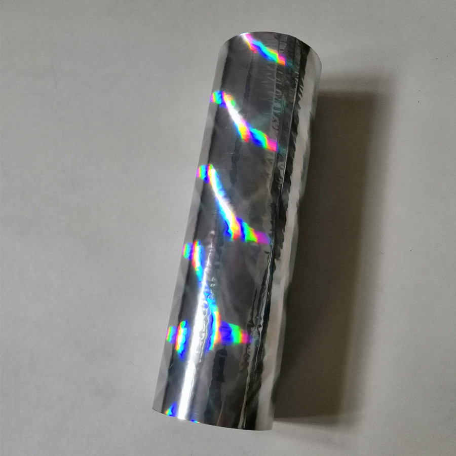 oblique beam light pattern silver holographic hot stamping foil press on paper or plastic materials transfer
