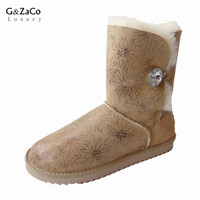 BLIVTIAE Luxury Winter Australia Sheepskin Snow Boots Natural Wool Sheep Fur Boots Mid Calf Crystal Button