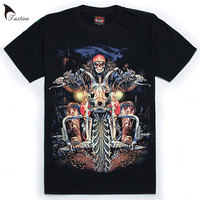 2019 TASTIEN Luminous Tees Hip Hop T shirt Mens Fashion 3D T shirt Motorcycle O neck Short sleeve Noctilucent Tees Big Size