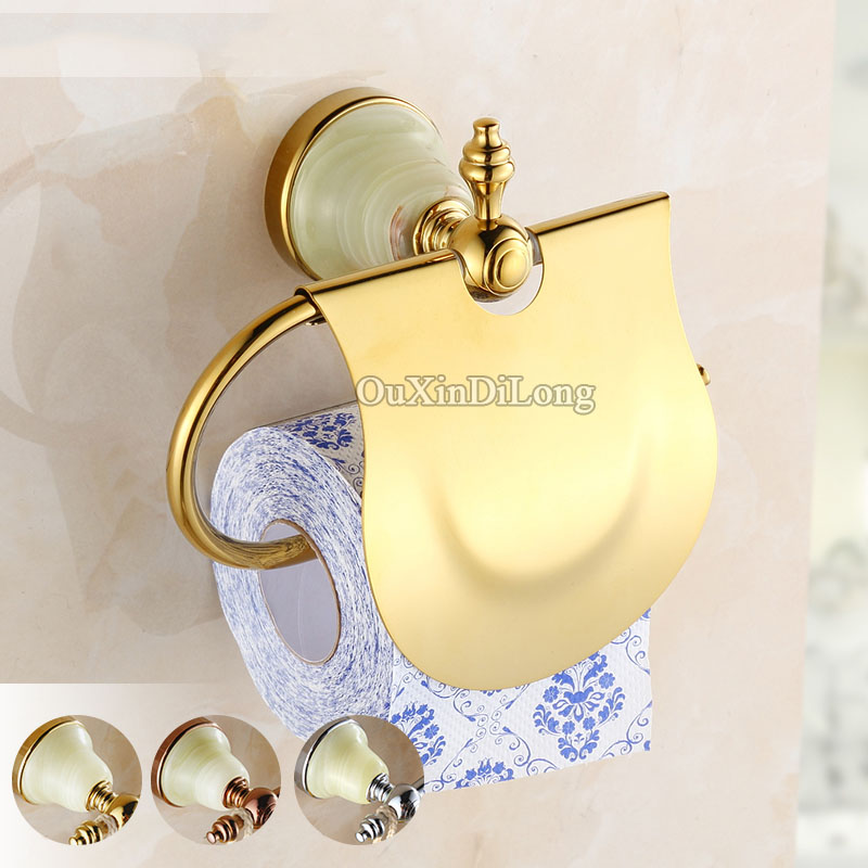 Wall Mounted Golden/Rose Golden Toilet Paper Holder Solid Brass Roll Holder Tissue Holder Bathroom Accessories Paper Hanger GD06 free shipping ba9105 bathroom accessories brass black bronze toilet paper holder