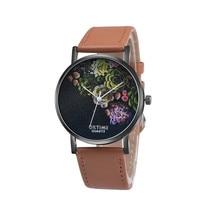 Retro Flower Design PU Leather Band Analog Alloy Quartz Wrist Watch Women Ladies Casual Bracelet Watches Relogio Feminino