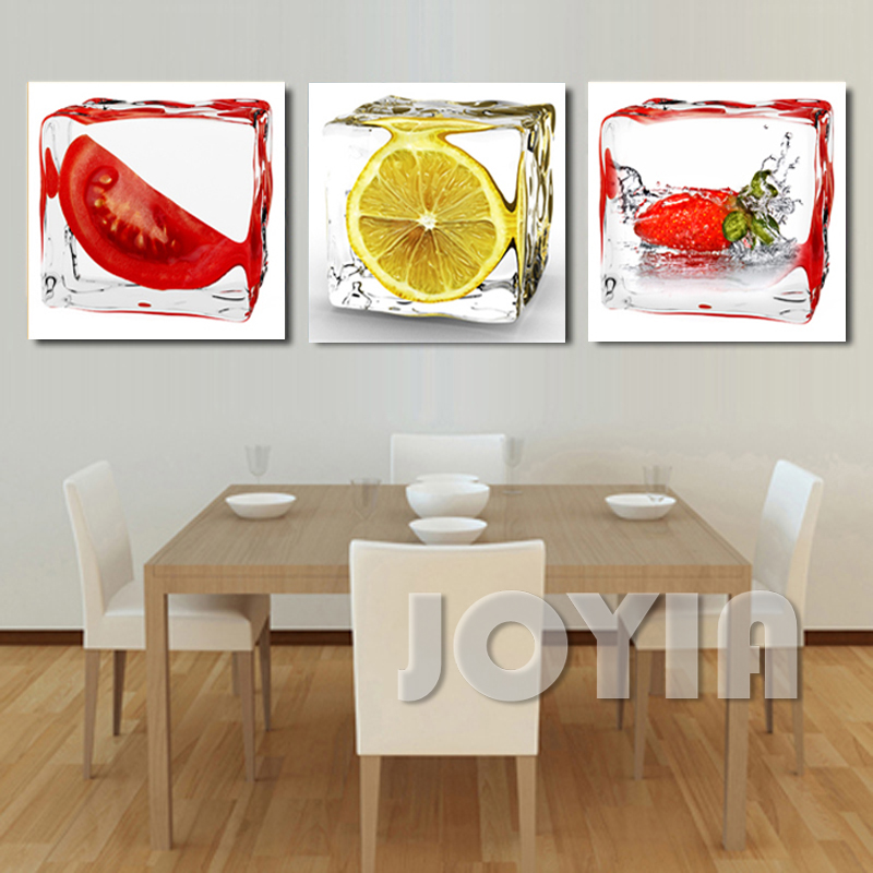 3 Panel Modern Wall Art Dining Room Decorative Pictures Ice Fruits Painting On Canvas Prints For Kitchen Decor No Frame