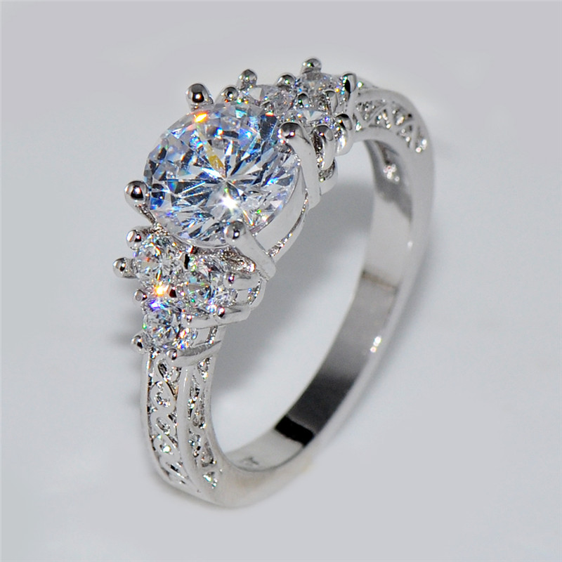 Splendent White Stone Stylish Jewelry WomenMen Wedding Ring Anel