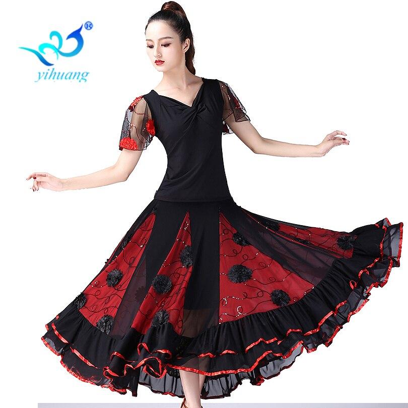 Waltz Ballroom Dance Costume Set Ladies Modern Standard Suit Tango Performance Outfits Flamenco Dance Costume Tops+Skirt