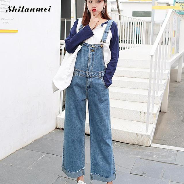 81b63512dcda Denim Jumpsuits Women Jeans Overalls Wide Leg Vintage Jeans Sexy Stretch  Casual Loose Long Pants Trousers Female Romper Jumpsuit