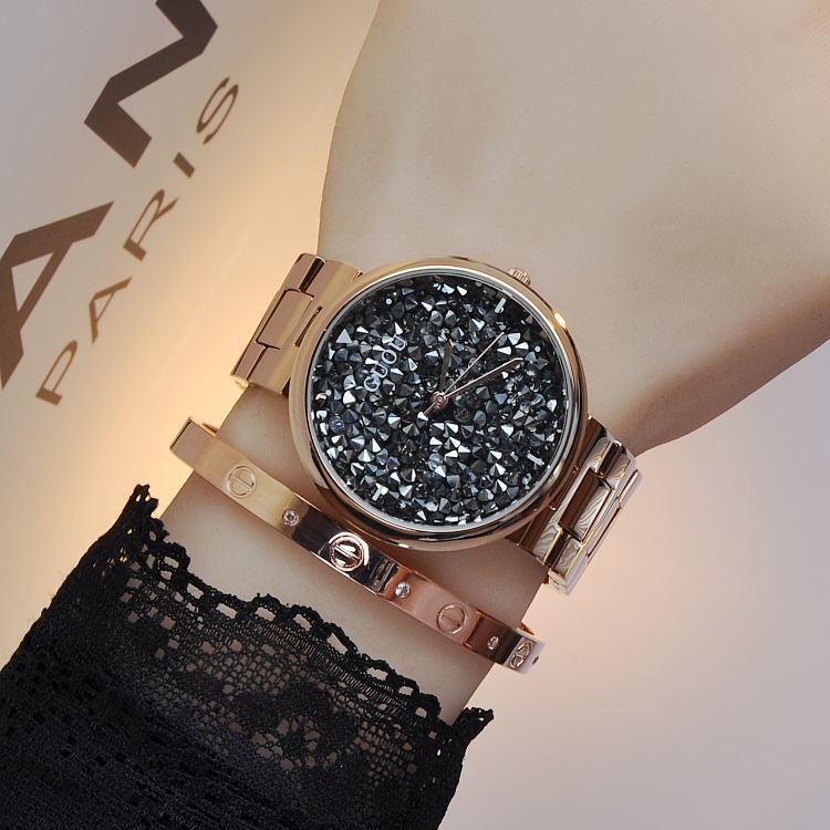 GUOU Brand Quartz Water Resistant Women Man Unisex Full Stainless Steel Bracelet Fashion Personality Babysbreath Diamond
