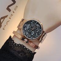 GUOU Brand Quartz Water Resistant Women Man Unisex Full Stainless Steel Bracelet Fashion Personality Babysbreath Diamond Watches