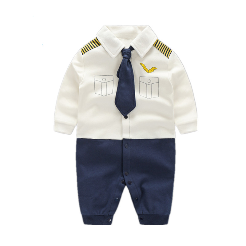 Spring New Baby Boy Clothes Long Sleeve Bowtie Gentleman Jumpsuit Beard Printed Body Suit Romper Infant Newborn Baby Clothing