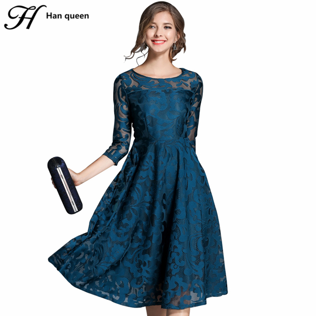 Autumn Lace Slim O-neck Sexy Hollow Out Blue Red Dress 1