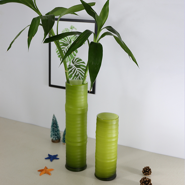 Green Bamboo Shaped Glass Vases Hydroponics For Home Decoration