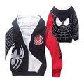 2016 nuevo bebé ropa de invierno de los muchachos de spiderman sudaderas con capucha y sudaderas niños niños clothing clothing de dibujos animados ocasional 100% algodón