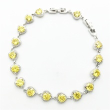 Hot Sale Valentine's Gift Shiny Gold yellow CZ Zircon Crystal Heart Shaped Real Sterling Silver Woman Girl Bracelet Jewelry