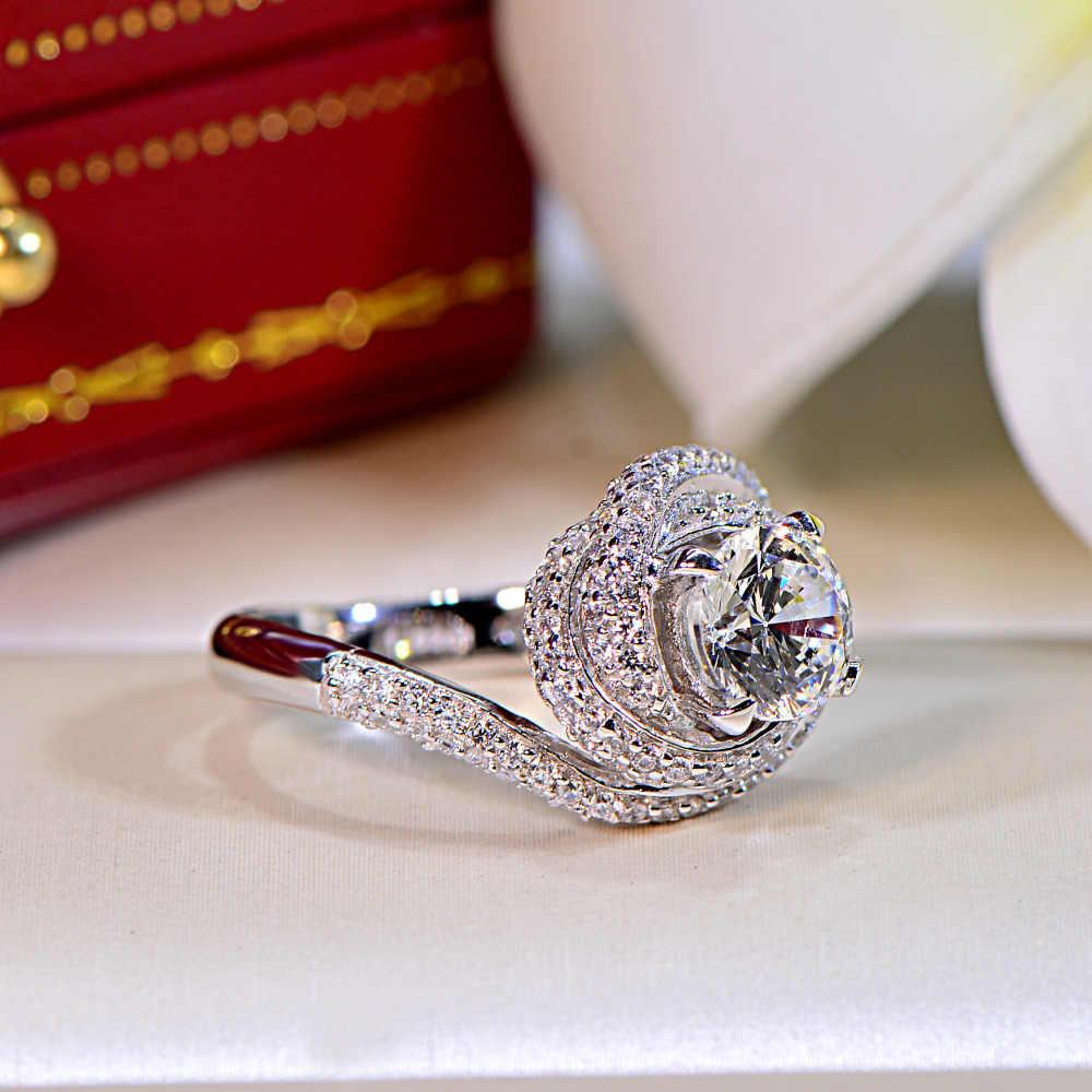 Victoria Wieck moda krzyż biżuteria 3ct AAAAA cyrkon cz obrączkę pierścienie dla kobiet 925 Sterling srebrny pierścień kobiet