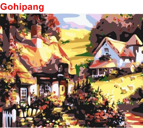 Diy oil painting by numbers Log cabin Unframed pictures on canvas home decoration unique gift craft paint