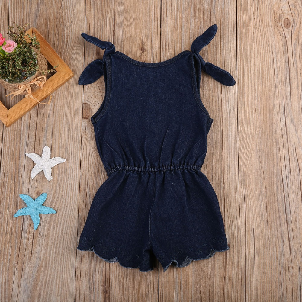 Summer Childrens Jeans Overalls Fashion Strap Toddler Girls Denim Jumpsuits Navy Blue Sleeveless Infant Kids One Piece Rompers