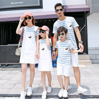 Family Matching Outfits Summer Fashion Cotton Boys Stripe T Shirt Short Sleeves Set Strap Dress for Girl Family Clothing Sets