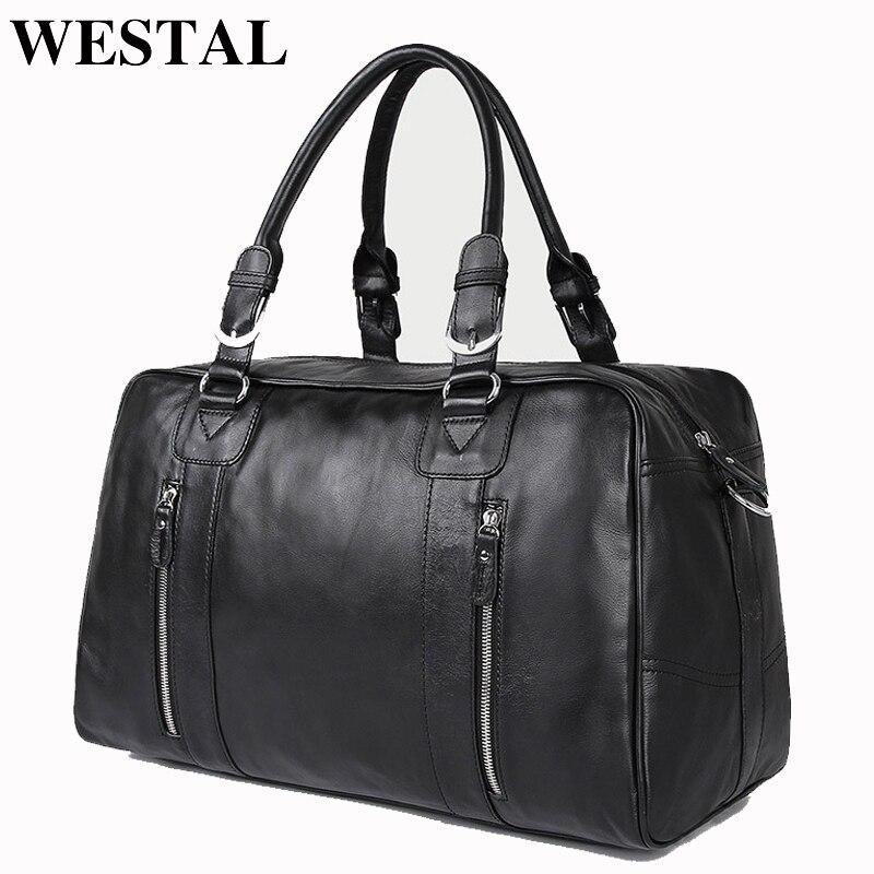 WESTAL Large Capacity Men Travel Bags Genuine Leather Travel Duffle Bags Casual Suitcase Big Weekend Bag