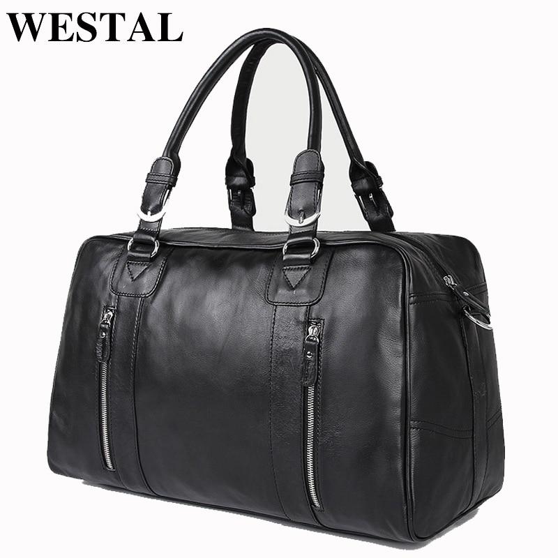 WESTAL ขนาดใหญ่ความจุกระเป๋าเดินทางผู้ชายกระเป๋าหนังแท้ Duffle Duffle กระเป๋า Casual กระเป๋าเดินทางขนาดใหญ่กระเป๋าสะพายสำหรับชายไหล่กระเป๋า-ใน กระเป๋าเดินทาง จาก สัมภาระและกระเป๋า บน   1