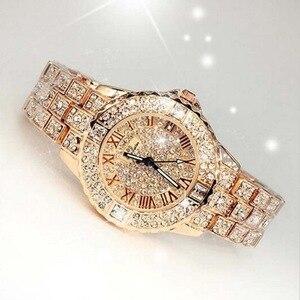 Image 3 - Новые роскошные часы Стразы с браслетом, женские модные часы с бриллиантами из розового золота, наручные часы из нержавеющей стали с кристаллами