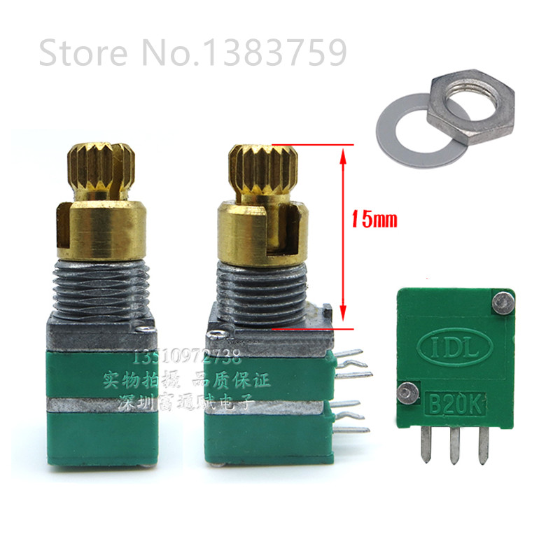 Precision 09 Type Potentiometer Double Double Shaft B20K Rotating Handle Length 15MM