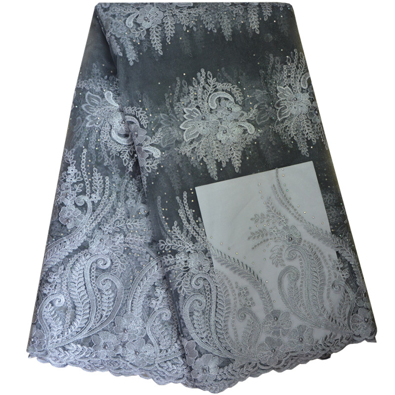 Nigerian French Lace Fabrics 2017 African Tulle Lace Fabric With Stones High Quality African Lace Wedding Fabric For Dress 632