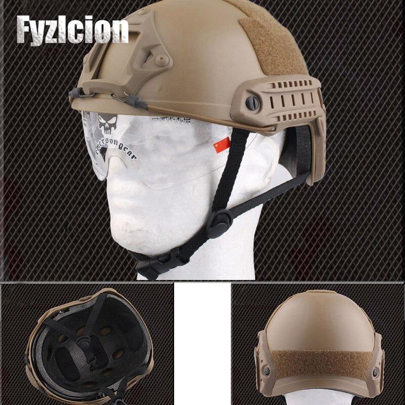 Военно-тактические Шестерни Airsoft Пейнтбол SWAT защитный быстро шлем с выпученными