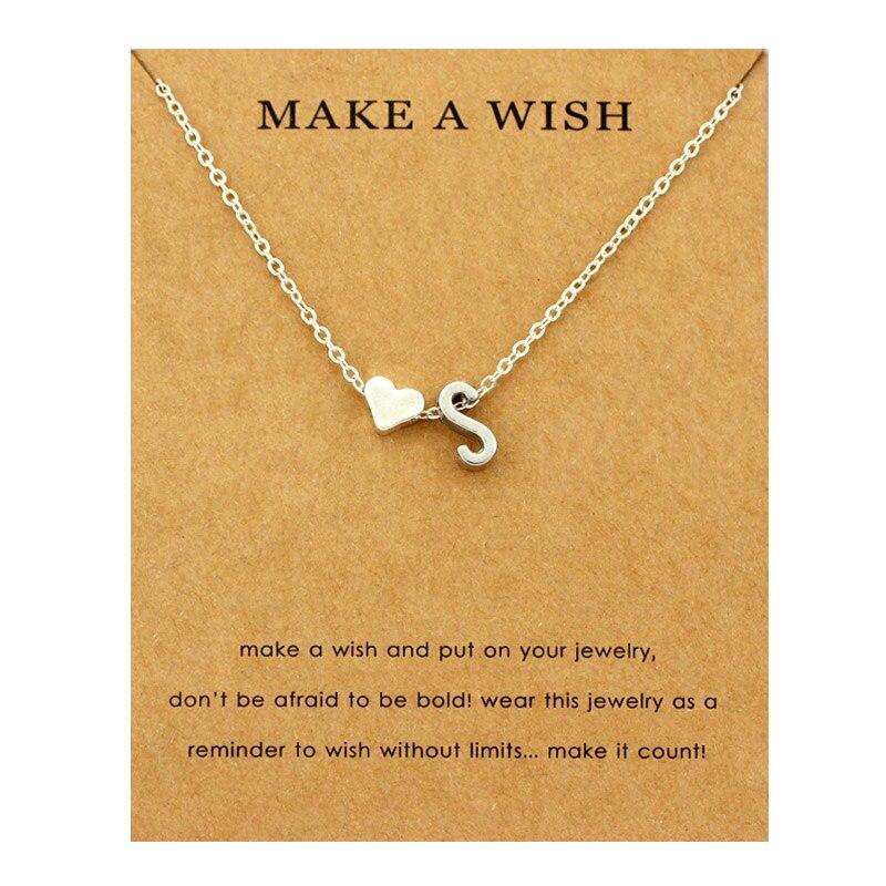 Сердце начальные Подвески ожерелье s персонализированное ожерелье с буквами Имя ювелирные изделия для женщин мужчин аксессуары подруги любовника пара подарок - Окраска металла: NE1673