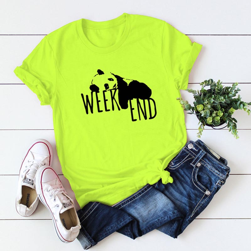 Plus Size S-5XL Pnada Print Fluorescent Green T Shirt Women Shirts 100% Cotton O Neck Short Sleeve Summer T-Shirt Tops TShirt