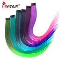 Leeons-extensiones de cabello sintético para mujer, largo y recto, con Clip de alta temperatura, color morado, rosa, rojo, azul y rosa