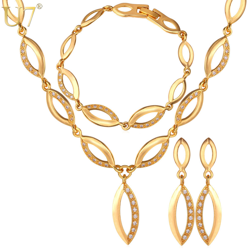U7 Wedding Jewelry Set For Women Gift Rhinestone Gold Color Willow-Shape Choker Necklace Earrings And Bracelet Set Trendy S494 chic rhinestone african plate shape pendant necklace and earrings for women