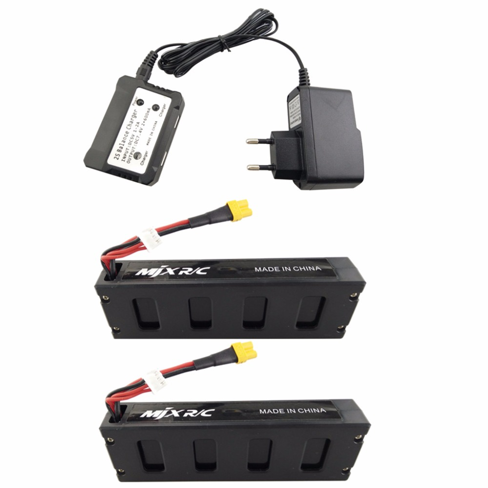 2PCS 7.4V 1800mAh Model Battery with 2-in-1 Euro Charger for MJX B3 Bugs 3 B3H BUGS 3H Four-Axis Aircraft Lithium Battery