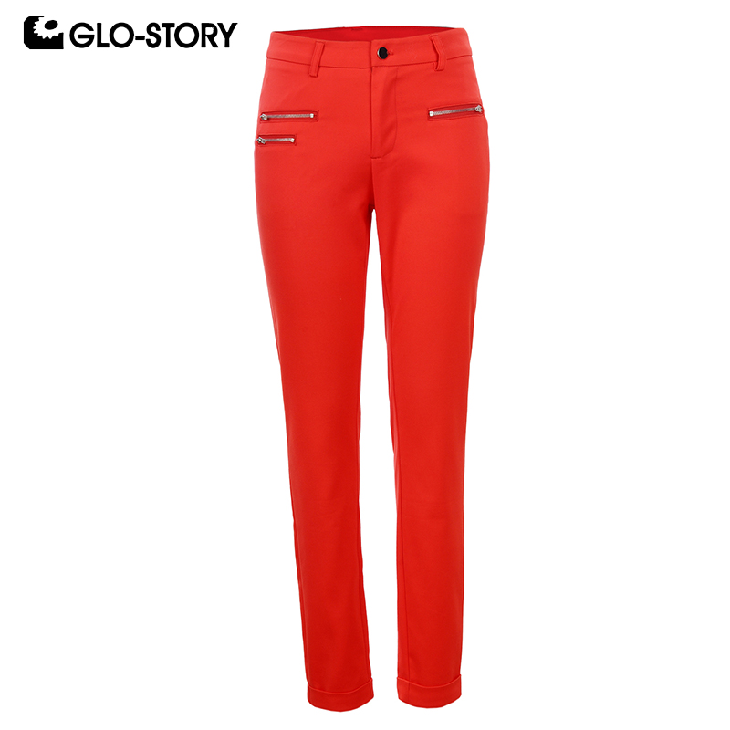 GLO-STORY 2018 New Arrive Women Pants Excellent Quality Full Length Elegant  Pencil Pants Solid 2 Color Women Trousers WSK-1186