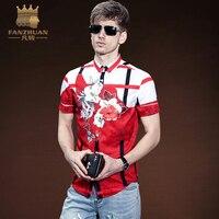 FANZHUAN New Summer Men Slim Fit Shirts Fashion Short Sleeve Printed Hit Color Stripe Men Dress