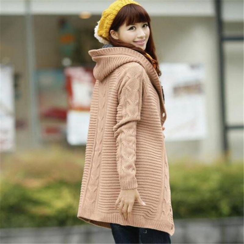 59dda7b85 US $27.95 49% OFF|Hot New Autumn Winter Knitting Sweaters Womens Big Yards  Hooded Coat Long Sleeve Thicken Cardigan Sweater Leisure Girls Knit 028-in  ...