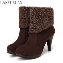 Коллекция 2016 качественные женские зимние сапоги на высоком каблуке с пряжкой женская обувь с круглым носом теплая зимняя обувь размеры 34-39 109