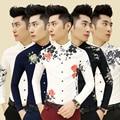M-2XL 17 colors free shipping British fashion mens shirts 2015 new flower printed shirt Korean Slim fit casual long sleeve shirt