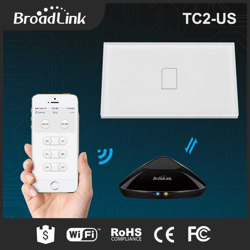 Original Broadlink TC2 US TC2 Touching 1gang Panel WiFi Switch IOS Android Wireless Remote Light Controller 170V-240V Smart Home 2017 smart home crystal glass panel wall switch wireless remote light switch us 1 gang wall light touch switch with controller
