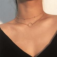 ZCHLGR Колье женское Двухслойное круглое ожерелье s золотое ожерелье чокер на шею Модный комплект