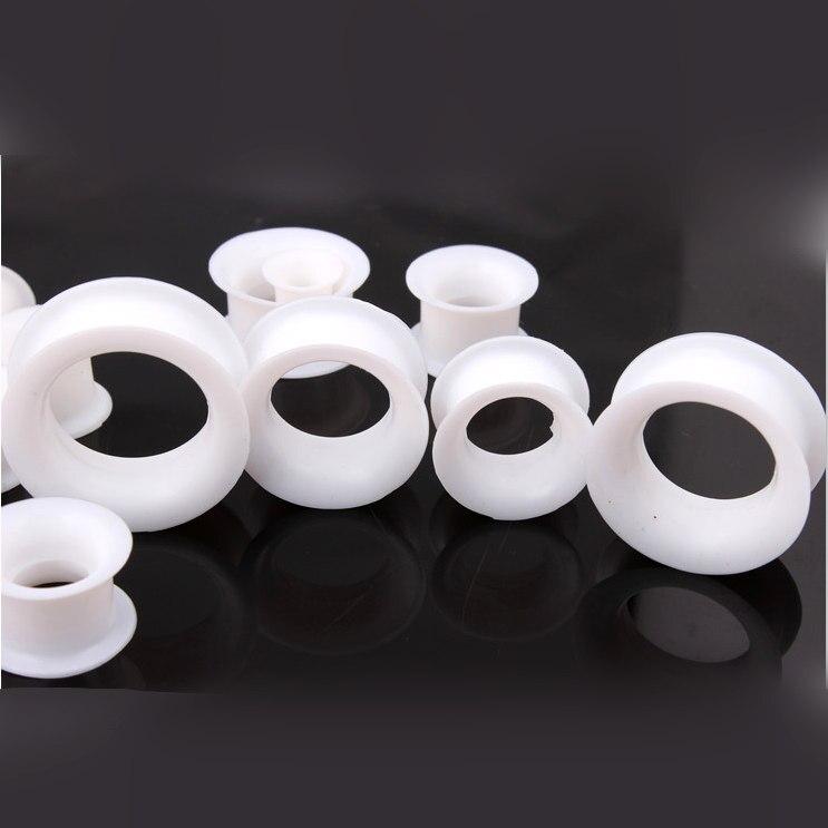White Gel Ear Plugs Flesh tunnels,Earring Hollow Expander Ear Gauges Kit,Piercing Jewelry 4MM-25MM