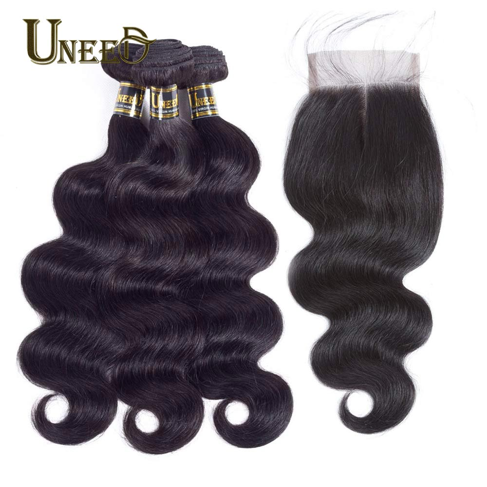 Uneed Hair Peruvian Body Wave 3 Bundles With Closure 100% Human Hair Bundles Lace Closure With Baby Hair Remy Hair Weave 10-28